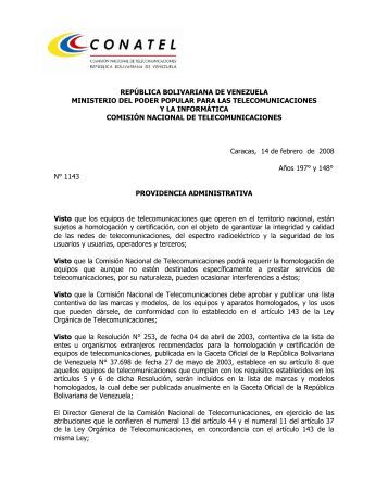 Providencia Administrativa HOMOLOGACION - 5ta Gaceta ... - Conatel