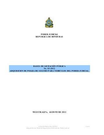 PODER JUDICIAL REPUBLICA DE HONDURAS ... - HonduCompras
