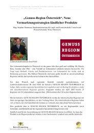 """""""Genuss-Region Österreich"""". Neue Vermarktungsstrategien ..."""