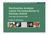 Reichweiten Analyse: Lokale Fernsehanbieter in Sachsen-Anhalt