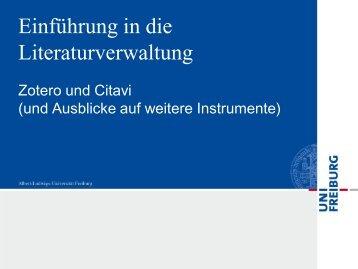Einführung in die Literaturverwaltung: Zotero und Citavi