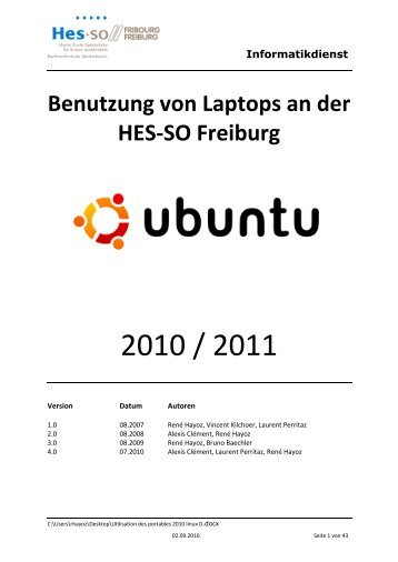 Benutzung von Laptops an der HES-SO Freiburg - Sinfo - HES-SO ...