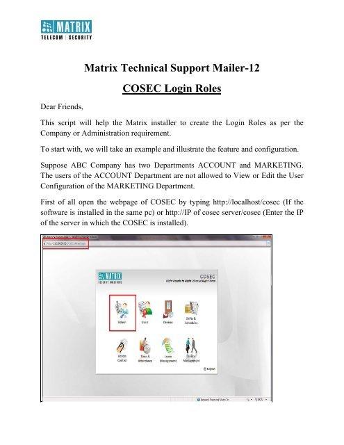 COSEC Login Roles - Matrix Security Solution