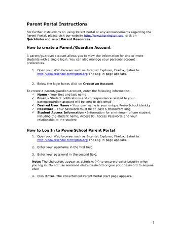 Parent Portal Instructions - Torrington Public Schools