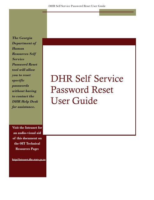DHR Self Service Password Reset User Guide - Department of