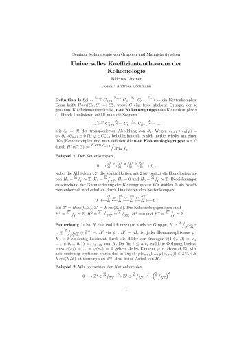 Universelles Koeffiziententheorem der Kohomologie /0 /0 /pr1 /prn