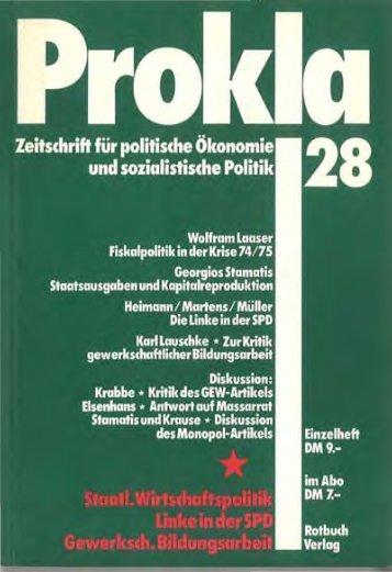 Prokla Heft 28 (7. Jabrgang 1977 Nr. 3