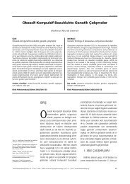 Obsesif-Kompulsif Bozuklukta Genetik Çal›flmalar - Klinik ...