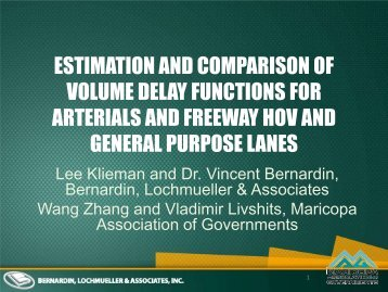 Estimation and Comparison of Volume Delay Functions for Arterials ...