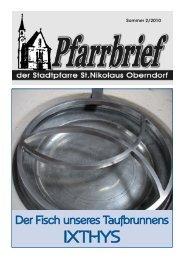 Pfarrbrief Sommer 2010 - Pfarre Oberndorf an der Salzach
