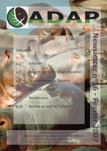 Newsletter n°16 - Février 2007 - ADAP