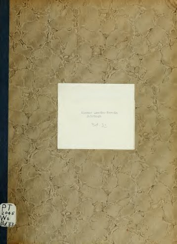 Jahrbuch - Wiener Goethe-Verein - Scholars Portal