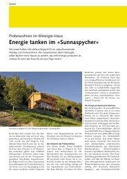 Energie tanken im «sunnaspycher» - bei der Beer Holzbau AG