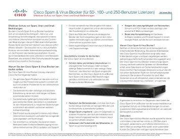 Cisco Spam & Virus Blocker (für 50-, 100- und 250-Benutzer Lizenzen)