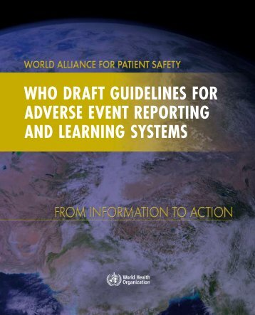 WHO Draft GuiDelines fOr aDverse event repOrtinG anD learninG ...