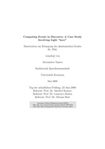"Computing Events in Discourse : A Case Study Involving Light ""have"""