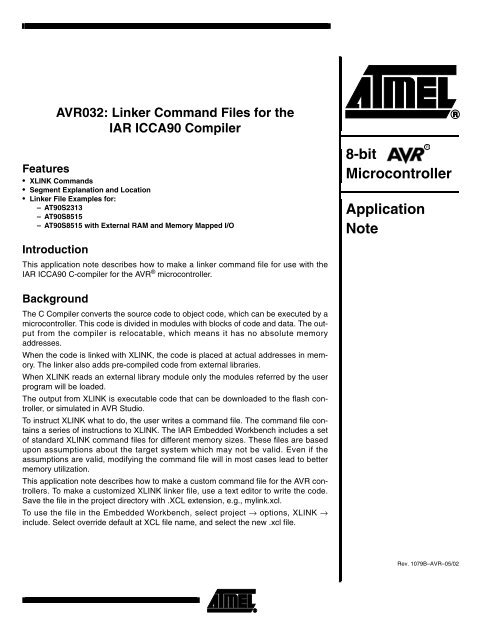 AVR032: Linker Command Files for the IAR ICCA90 Compiler - Atmel