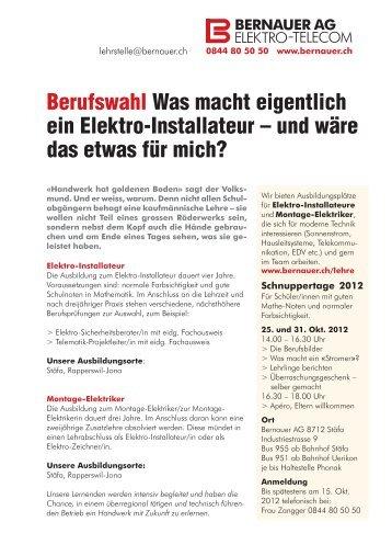 Berufswahl Was macht eigentlich ein Elektro ... - Bernauer AG