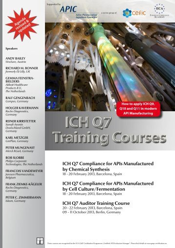 ICH Q7 Training Courses - European Compliance Academy