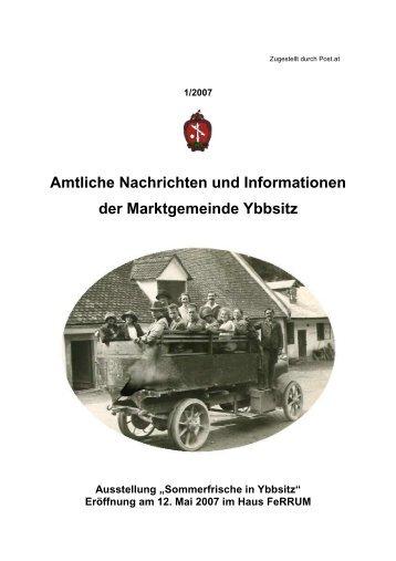 Amtliche Nachrichten Ausgabe 1/2007 - Marktgemeinde Ybbsitz