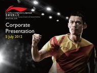 Corporate Presentation - Li Ning