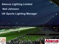Abacus Lighting Limited Neil Johnson UK Sports Lighting Manager