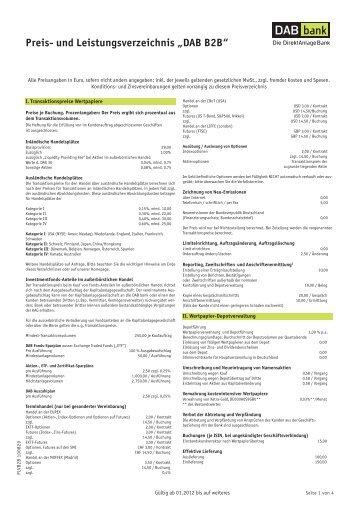 Preis- und Leistungsverzeichnis - Der Finanz Berater