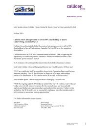 Joint Media release Calliden Group Limited & Sports Underwriting ...