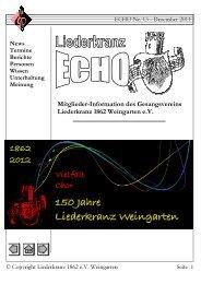 Liederkranz Echo Ausgabe Nr. 13 / Dezember 2011