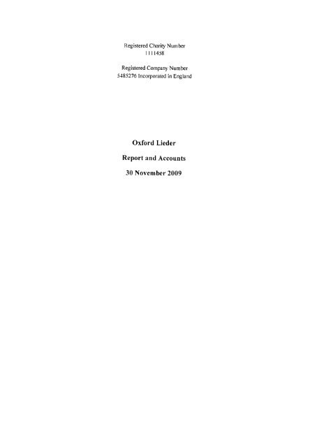 Oxford Lieder - Charity Commission