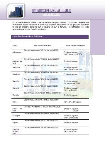 CONVENTIONS FISCALES LIANT L'ALGERIE - DGI