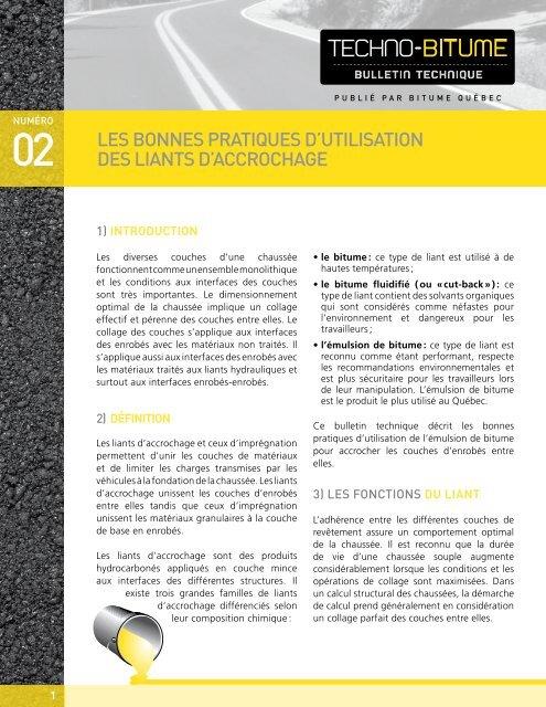 Les BONNes PRAtiQUes D'UtiLisAtiON Des LiANts ... - Bitume Québec