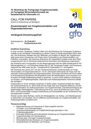 Call for Papers als PDF-Datei - Fachgruppe Vorgehensmodelle für ...