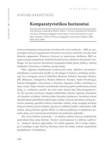 Komparatyvistikos horizontai - Lietuvių literatūros ir tautosakos ...