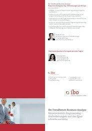 Anforderungen auf der Spur ibo Trendforum Business Analyse am ...