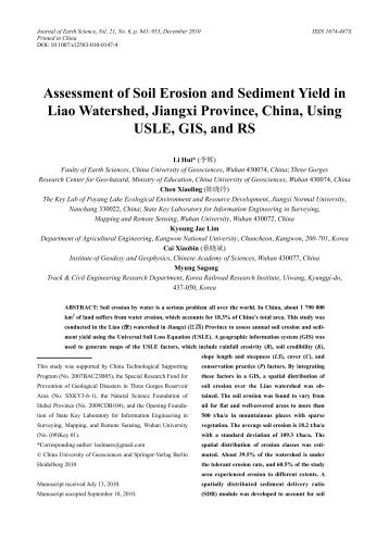Assessment of Soil Erosion and Sediment Yield in Liao Watershed ...