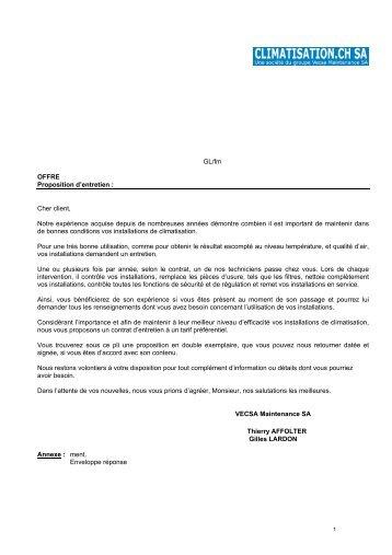 GL/fm OFFRE Proposition d'entretien : Cher client ... - Climatisation.ch