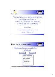Formulation et détermination du type de liants ... - Bitume Québec