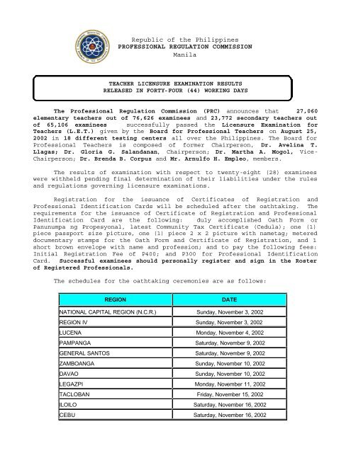 Reyca Banos.Republic Of The Philippines Professional Regulation