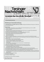 Einladung zur Gemeinderatssitzung - Teningen