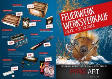 Flyer Silvester - Werksverkauf 2011 - Pyro-Art