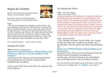 Schabbat Ablauf - Christus für Unerreichte eV