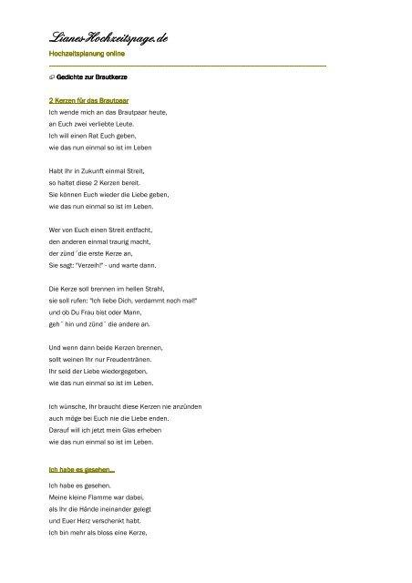 Brautkerze Gedichte Lianes Hochzeitspage