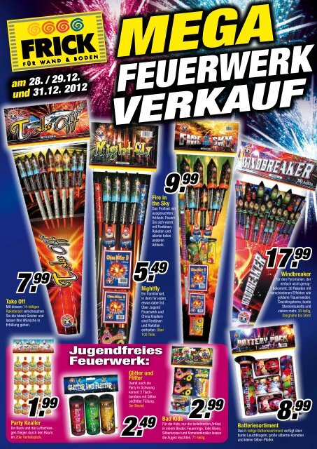 Jugendfreies Feuerwerk: - FRICK für Wand und Boden