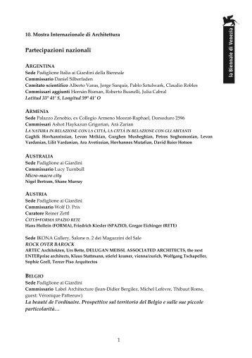 Partecipazioni nazionali - La Biennale di Venezia - sito ufficiale