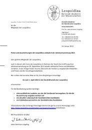 14. Januar 2013 An die Mitglieder der Leopoldina Preise und ...
