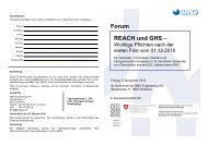 Forum REACH und GHS – - BMG Engineering AG