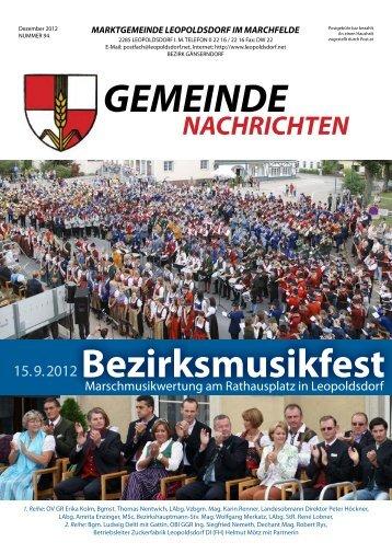 Bezirksmusikfest - Die Marktgemeinde Leopoldsdorf im Marchfeld
