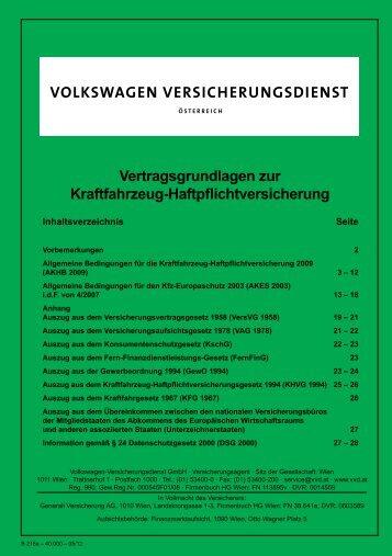 Vertragsgrundlagen zur Kraftfahrzeug-Haftpflichtversicherung - VVD