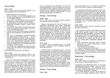 Hauptvorträge Biologie – Fachvorträge Chemie – Fachvorträge ...